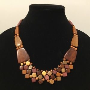 Jewelry - Multicolored Geometric Wooden Beaded Necklace